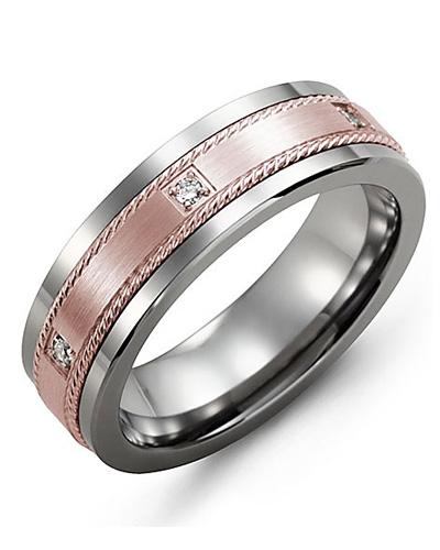 Tungsten & Rose Gold + 3 Diamonds tcw 0.06