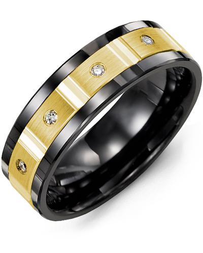 Men's & Women's Black Ceramic & Yellow Gold + 4 Diamonds 0.08ct Wedding Band