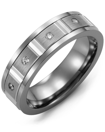 Men's & Women's Tungsten & White Gold + 4 Diamonds 0.08ct Wedding Band