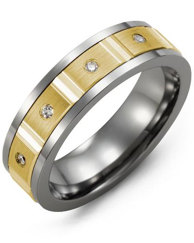 Men's & Women's Tungsten & Yellow Gold + 4 Diamonds 0.08ct Wedding Band