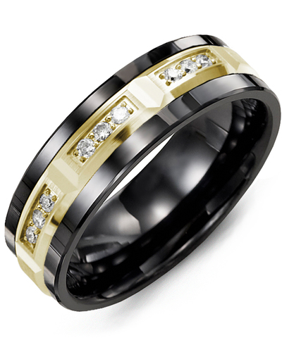 Men's & Women's Black Ceramic & Yellow Gold + 9 Diamonds 0.18ct Wedding Band