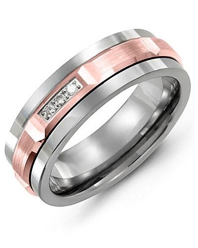 Men's & Women's Tungsten & Rose Gold + 3 Diamonds tcw 0.06 Wedding Band 10K 11mm