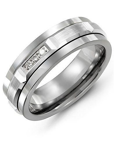 Men's & Women's Tungsten & White Gold + 3 Diamonds 0.06ct Wedding Band from MADANI Rings. Wedding bands, fashion rings, promise rings, made of Tungsten, Ceramic, Cobalt, and Gold. View the collection at madanirings.com