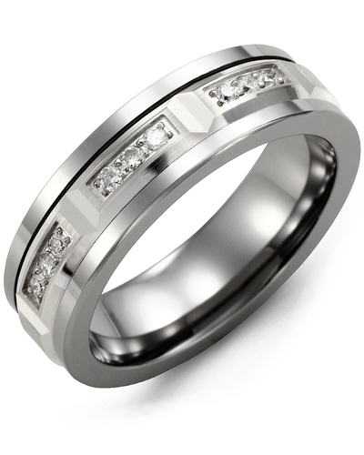 Men's & Women's Tungsten & White Gold + 9 Diamonds 0.18ct Wedding Band from MADANI Rings. Wedding bands, fashion rings, promise rings, made of Tungsten, Ceramic, Cobalt, and Gold. View the collection at madanirings.com