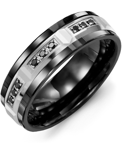 Men's & Women's Black Ceramic & White Gold + 9 Black Diamonds 0.18ct Wedding Band from MADANI Rings. Wedding bands, fashion rings, promise rings, made of Tungsten, Ceramic, Cobalt, and Gold. View the collection at madanirings.com