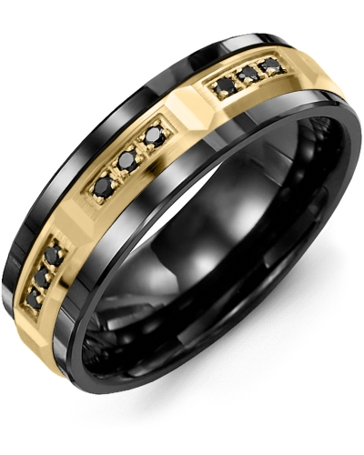 Men's & Women's Black Ceramic & Yellow Gold + 9 Black Diamonds tcw  0.18 Wedding Band 10K 7mm