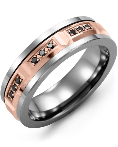 Men's & Women's Cobalt & Rose Gold + 9 Black Diamonds 0.18ct Wedding Band