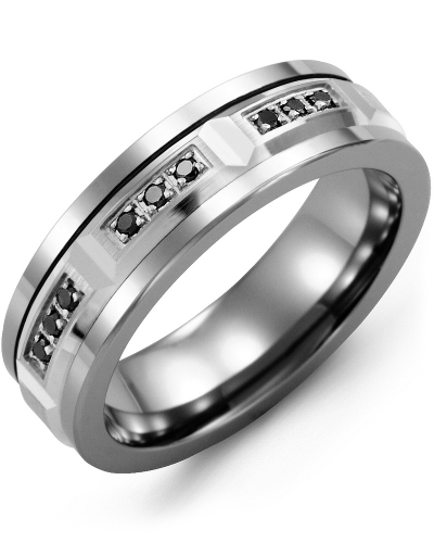 Men's & Women's Cobalt & White Gold + 9 Black Diamonds 0.18ct Wedding Band
