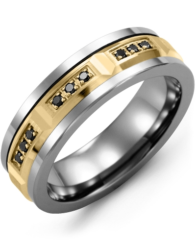 Men's & Women's Cobalt & Yellow Gold + 9 Black Diamonds 0.18ct Wedding Band