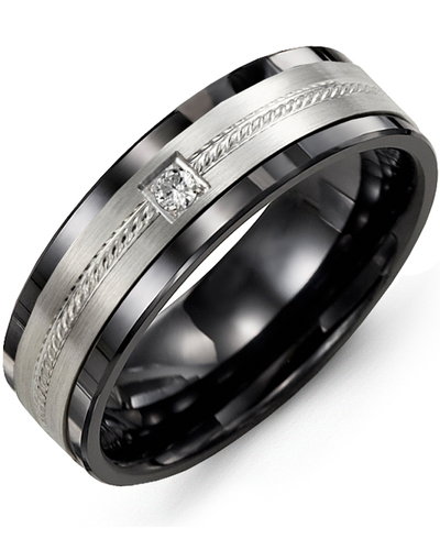 Men's & Women's Black Ceramic & White Gold + 1 Diamond 0.05ct Wedding Band