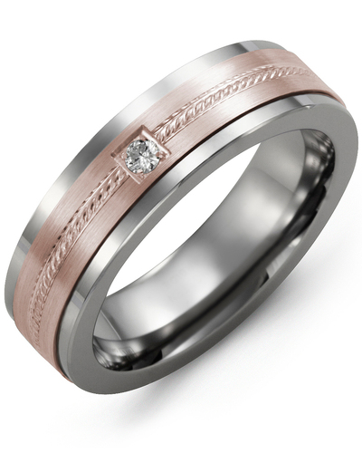Men's & Women's Tungsten & Rose Gold + 1 Diamond 0.05ct Wedding Band