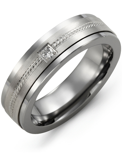 Men's & Women's Tungsten & White Gold + 1 Diamond 0.05ct Wedding Band
