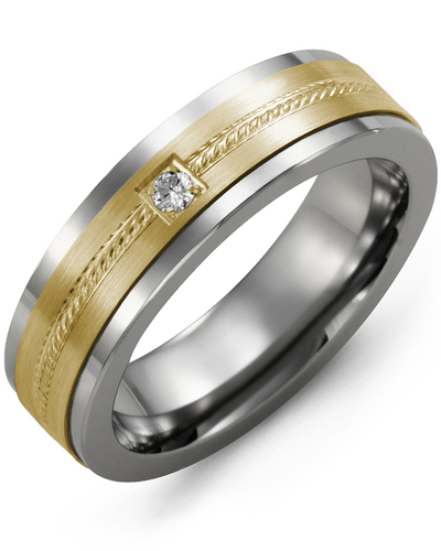 Men's & Women's Tungsten & Yellow Gold + 1 Diamond 0.05ct Wedding Band