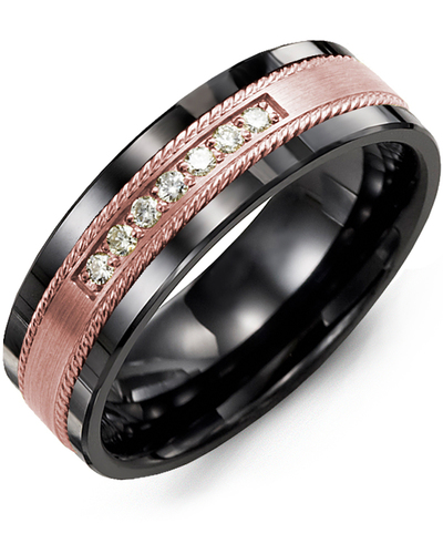 Men's & Women's Black Ceramic & Rose Gold + 7 Diamonds 0.14ct Wedding Band