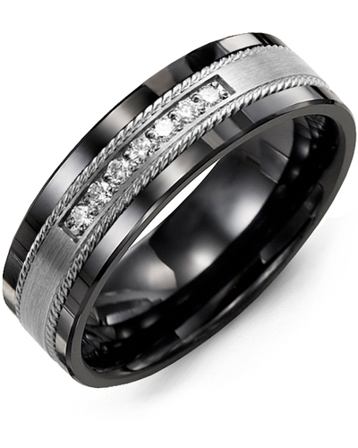 Men's & Women's Black Ceramic & White Gold + 7 Diamonds 0.14ct Wedding Band