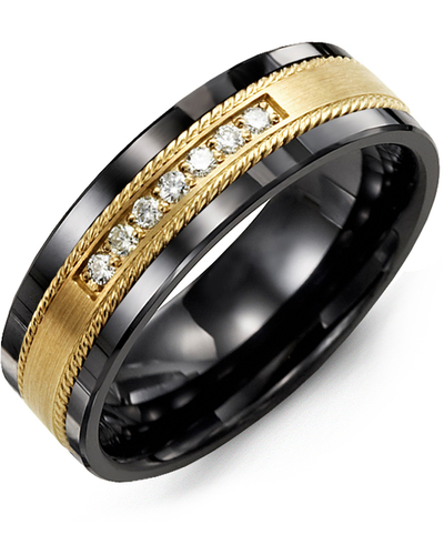 Men's & Women's Black Ceramic & Yellow Gold + 7 Diamonds 0.14ct Wedding Band