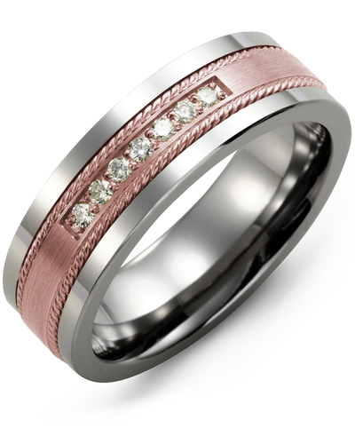 Men's & Women's Tungsten & Rose Gold + 7 Diamonds 0.14ct Wedding Band