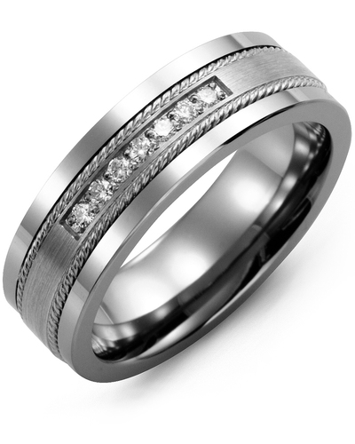 Men's & Women's Tungsten & White Gold + 7 Diamonds 0.14ct Wedding Band from MADANI Rings. Wedding bands, fashion rings, promise rings, made of Tungsten, Ceramic, Cobalt, and Gold. View the collection at madanirings.com