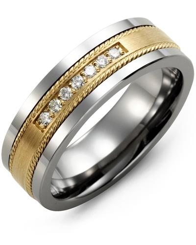 Men's & Women's Tungsten & Yellow Gold + 7 Diamonds 0.14ct Wedding Band