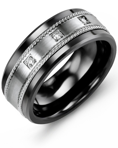 Men's & Women's Black Ceramic & White Gold + 3 Diamonds tcw 0.06 Wedding Band 10K 9mm