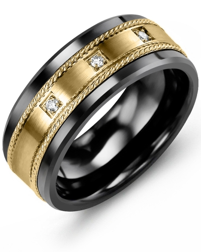 Men's & Women's Black Ceramic & Yellow Gold + 3 Diamonds tcw 0.06 Wedding Band 10K 9mm
