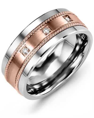 Men's & Women's Tungsten & Rose Gold + 3 Diamonds tcw 0.06 Wedding Band 10K 10mm