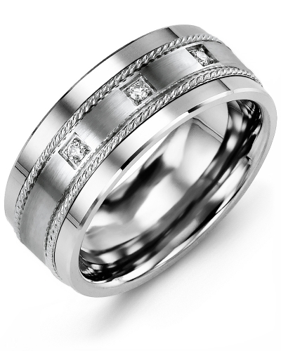 Men's & Women's Tungsten & White Gold + 3 Diamonds tcw 0.06 Wedding Band from MADANI Rings. Wedding bands, fashion rings, promise rings, made of Tungsten, Ceramic, Cobalt, and Gold. View the collection at madanirings.com