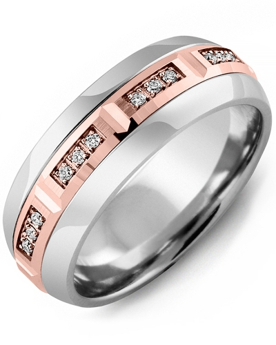 Men's & Women's Cobalt Half Round & Rose Gold + 12 Diamonds 0.12ct Wedding Band