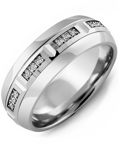 Men's & Women's Cobalt Half Round & White Gold + 12 Diamonds 0.12ct Wedding Band