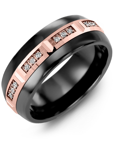 Men's & Women's Black Ceramic Half Round & Rose Gold + 12 Diamonds 0.12ct Wedding Band
