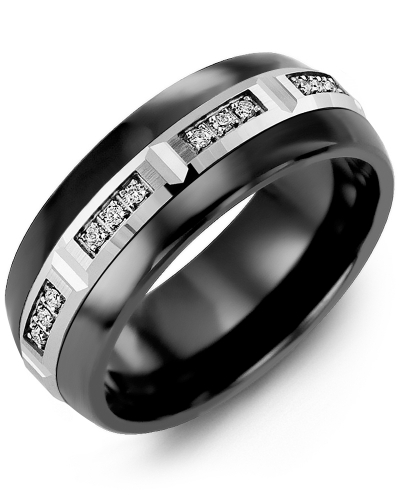 Men's & Women's Black Ceramic Half Round & White Gold + 12 Diamonds 0.12ct Wedding Band