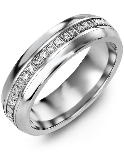 Men's & Women's Cobalt Half Round & White Gold + 15 Diamonds tcw 0.15 Wedding Band