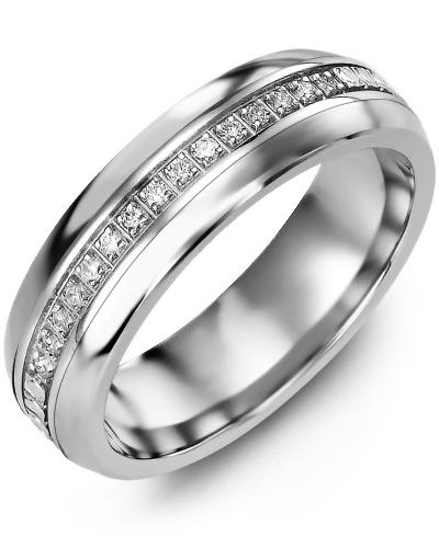 Men's & Women's Cobalt Half Round & White Gold + 15 Diamonds 0.15ct Wedding Band