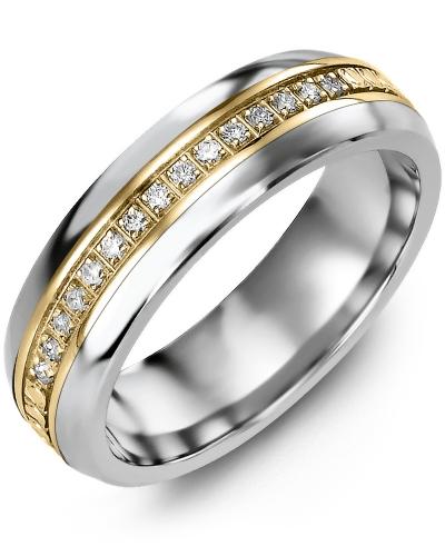 Men's & Women's Cobalt Half Round & Yellow Gold + 15 Diamonds 0.15ct Wedding Band