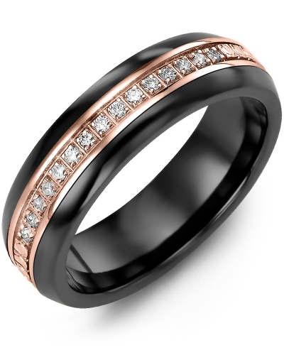 Men's & Women's Black Ceramic Half Round & Rose Gold + 15 Diamonds 0.15ct Wedding Band from MADANI Rings. Wedding bands, fashion rings, promise rings, made of Tungsten, Ceramic, Cobalt, and Gold. View the collection at madanirings.com
