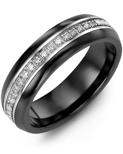 Men's & Women's Black Ceramic Half Round & White Gold + 15 Diamonds tcw 0.15 Wedding Band