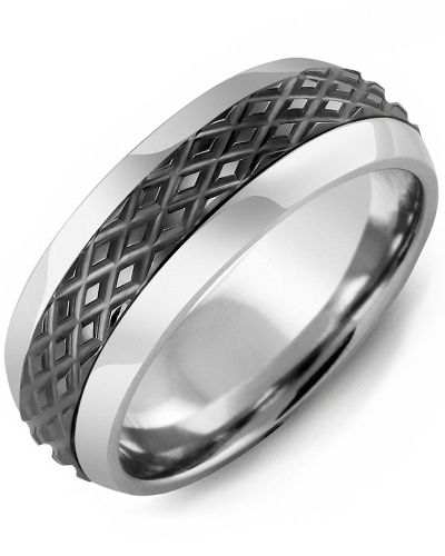 Men's & Women's Cobalt Half Round & Black Gold Wedding Band
