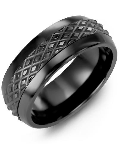 Men's & Women's Black Ceramic Half Round & Black Gold Wedding Band 10K 8.5mm