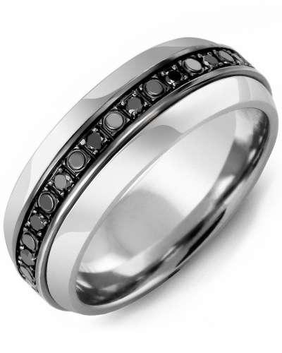 Men's & Women's Tungsten Half Round & Black Gold + 18 Black Diamonds tcw 0.36 Wedding Band
