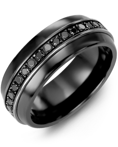 Men's & Women's Black Ceramic Half Round & Black Gold + 18 Black Diamonds 0.36ct Wedding Band