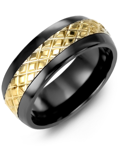 Men's & Women's Black Ceramic Half Round & Yellow Gold Wedding Band