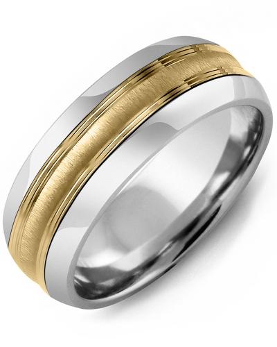 Men's & Women's Tungsten Half Round & Yellow Gold Wedding Band 10K 8.5mm