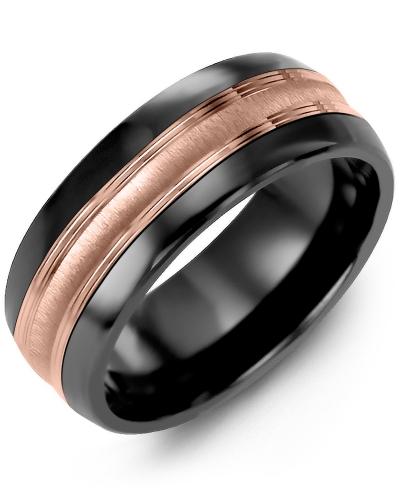 Men's & Women's Black Ceramic Half Round & Rose Gold Wedding Band 10K 8.5mm