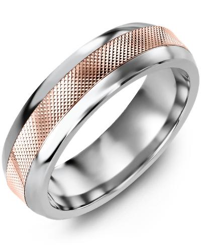 Men's & Women's Tungsten Half Round & Rose Gold Wedding Band