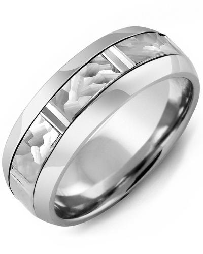 Men's & Women's Cobalt Half Round & White Gold Wedding Band 10K 8.5mm