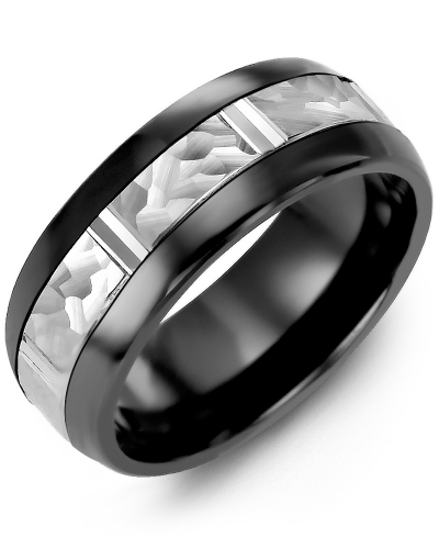 Men's & Women's Black Ceramic Half Round & White Gold Wedding Band