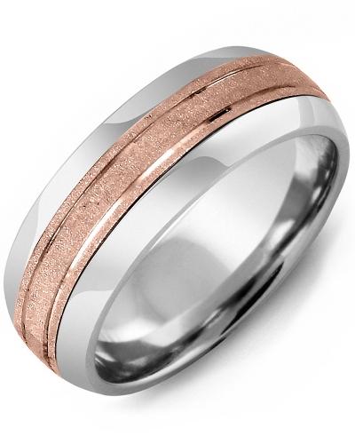 Men's & Women's Tungsten Half Round & Rose Gold Wedding Band 10K 8.5mm