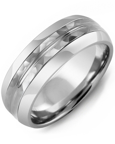 Men's & Women's Tungsten Half Round & White Gold Wedding Band
