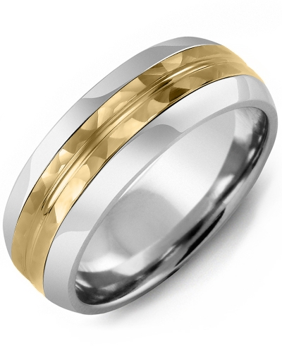 Men's & Women's Tungsten Half Round & Yellow Gold Wedding Band