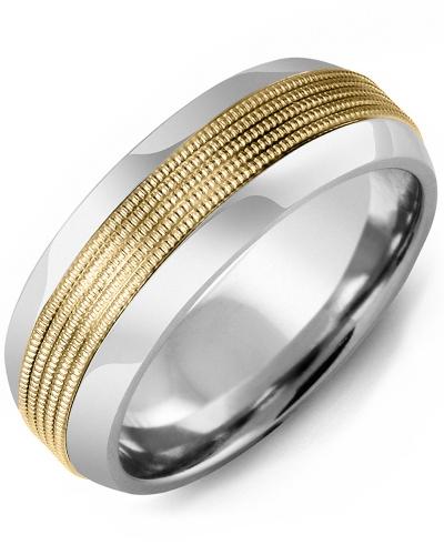 Men's & Women's Tungsten Half Round & Yellow Gold Wedding Band